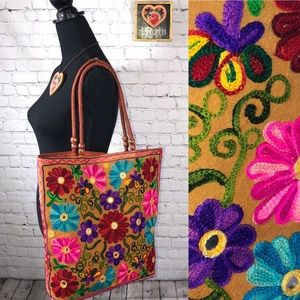 Handbags - Floral Embroidered Tote